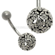 Daisy Ball Belly Piercing Bar