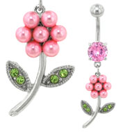 Pearl Daisy Belly Piercing Bar