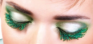 green feather eyelashes