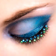 Blue and Green Diamante False Eyelashes
