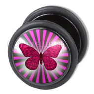 Purple Butterfly Plug Ear Stud