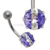 Purple CZ Steel Belly Button Bar