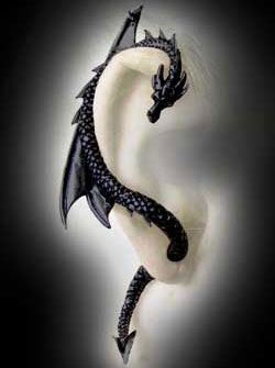 Alchemy Gothic Black Pewter Dragons Lure Earring