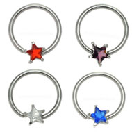 Jewel Star Ball Closure Rings