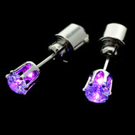 Purple Light Up CZ Earrings