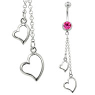 Pink Hearts Jewelled Belly Bar