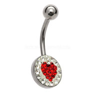 Red Heart Jewelled Belly Bar