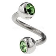 Green Jewelled Steel Body Spiral