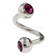 Purple Jewelled Steel Body Spiral