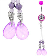 Purple Jewelled Belly Dangle