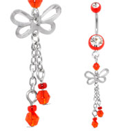 Red Jewelled Belly Dangle