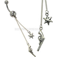 Sheriff Silver Jewelled Belly Dangle