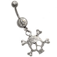 Crystal Skull Navel Piercing Jewellery