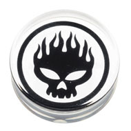 Clear Flaming Skull Flesh Plug