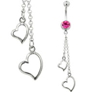 Pink and Silver Heart Belly Bar