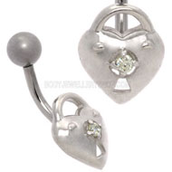 Silver Padlock Heart Belly Bar