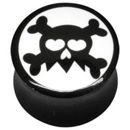 White Skull and Crossbones Flesh Plug