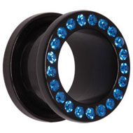 Blue Jewelled Acrylic Flesh Tunnel