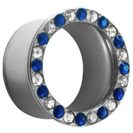 Blue and Clear Jewelled Steel Flesh Tunnel