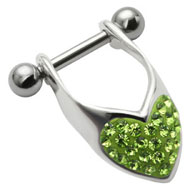 Green Heart Helix Piercing Bar