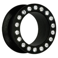 Jewelled Black Silicon Flesh Tunnel