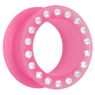 Jewelled Pink Silicon Flesh Tunnel