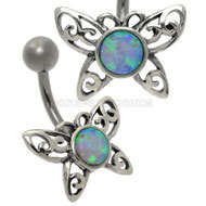 Opal Butterfly Belly Piercing Bar