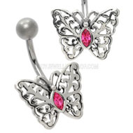 Pink Jewel Butterfly Belly Piercing Bar
