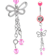 Pink UV Butterfly Belly Piercing Bar