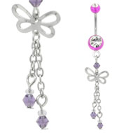 Purple UV Butterfly Belly Piercing Bar