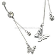 Silver Butterfly Belly Piercing Bar