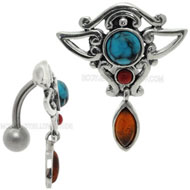 Amber Coral and Turquoise Belly Button Piercing Jewellery