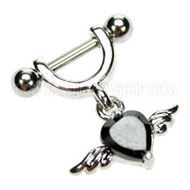Black Winged Heart Helix Piercing Jewellery