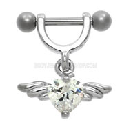 Clear Winged Heart Helix Piercing Jewellery