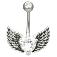 Jewelled Winged Heart Navel Piercing Jewellery