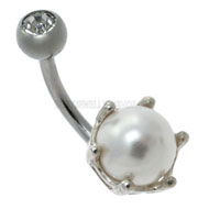 Pearl Belly Button Piercing Bar