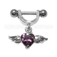 Purple Winged Heart Helix Piercing Jewellery