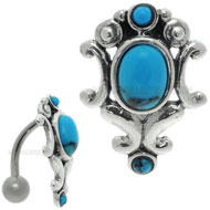 Turquoise Gemstone Belly Bar