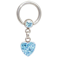 Blue Crystal Heart Ball Closure Ring