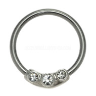 Clear Jewelled Ball Closure Ring