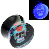 Mexican Skull UV Flesh Plug