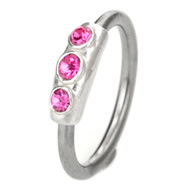 Pink Jewelled Ball Closure Ring