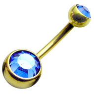 Blue Zircon Gold Belly Button Bar