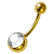 Clear Jewel Zircon Gold Belly Button Bar