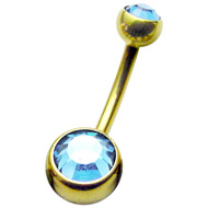 Light Blue Zircon Gold Belly Button Bar