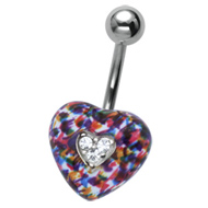Multi Crystal Heart Belly Bar