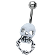 White Skull Ring Belly Bar