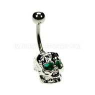 Green Skull Belly Button Bar