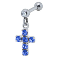 Blue Cross Ear Piercing Bar