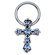 Blue Cross Nipple Ring